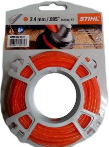 Струна 2,4 мм х 14 м STIHL круглого сечения,бесшумная оранжевая