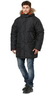 """Куртка """"Аляска"""" удл.черная/оранж"""